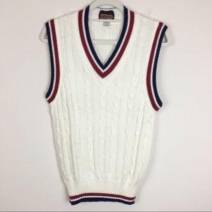 Vintage Wilson Tennis Vest White, Maroon & Navy